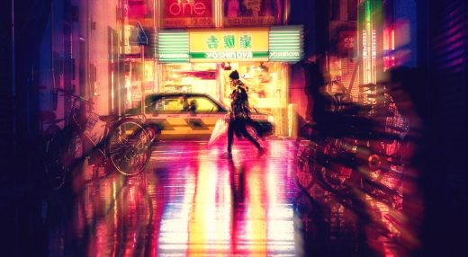 A man walking in the rain in a neon-lit Japanese street.