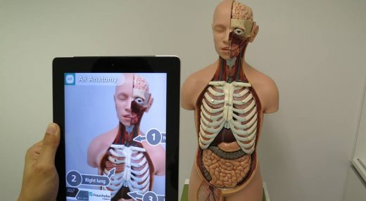 An augmented reality educational app showing the parts of an anatomy model.