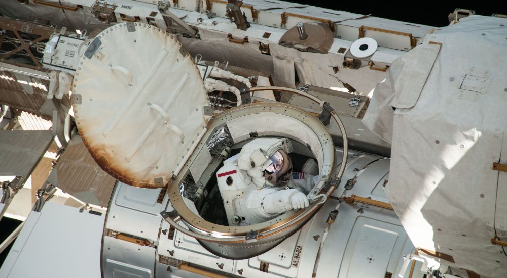 Photograph of ISS Quest Joint Airlock Venting Air.