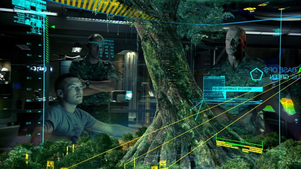 Avatar Futuristic Display showing a tree structure projected in 3D.