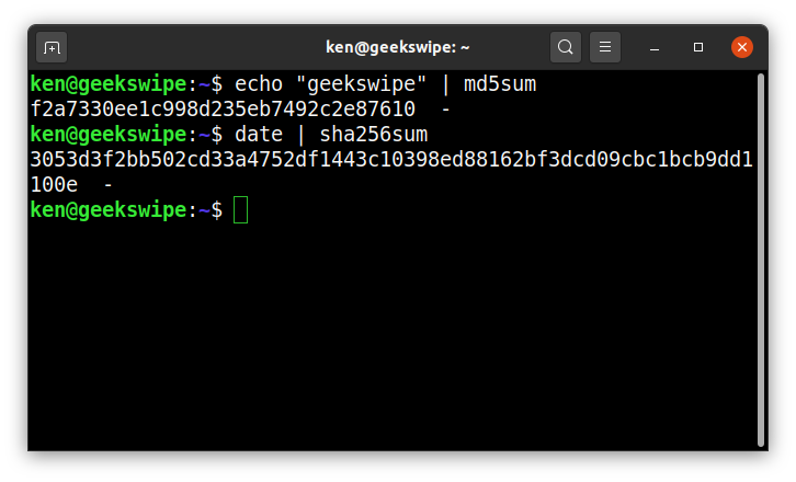 Screenshot of random hash generation in Linux command line, using MD5 and SHA256.