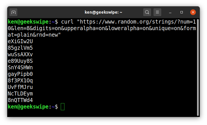 Screenshot of Linux terminal with random passwords generated from random.org using cURL.