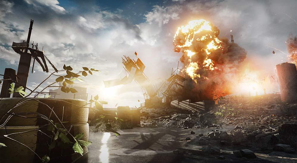 Screenshot of an explosion in Battlefield 4 - Fishing in Baku Mission