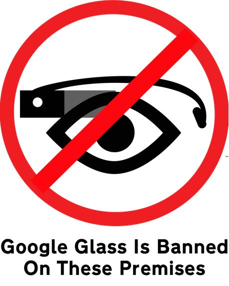 Google Glass Banned Sign.