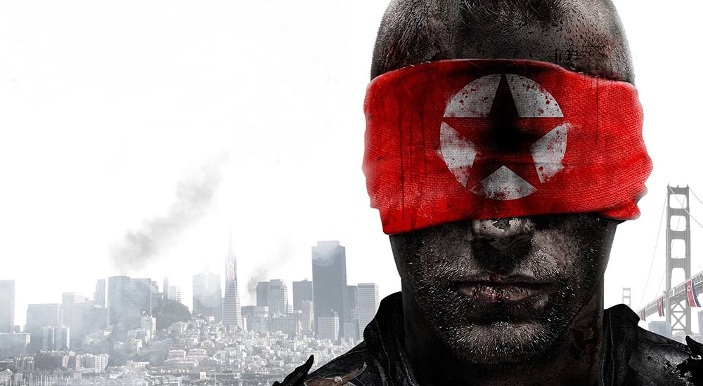 Box art of Homefront 2011 video game of a man blindfolded with a bloodstained North Korean flag.