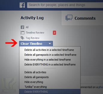 Facebook activity remover screenshot