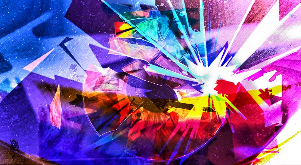 A broken CD art with colourful overlay.