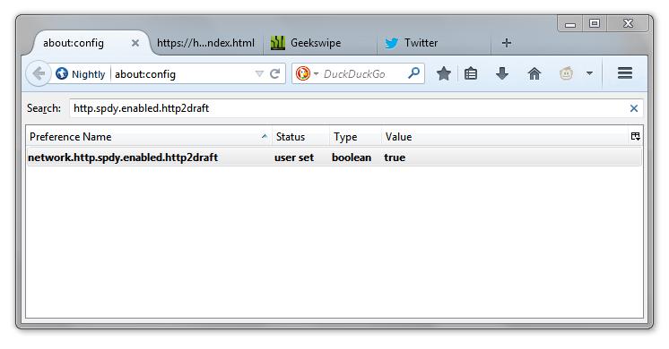 Geekswipe HTTP 2.0 Resource Firefox Nightly 2