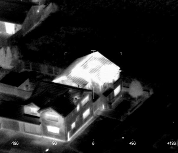Aerial thermal image taken by the West Midlands Police Force Helicopter that highlights a Cannabis Factory.