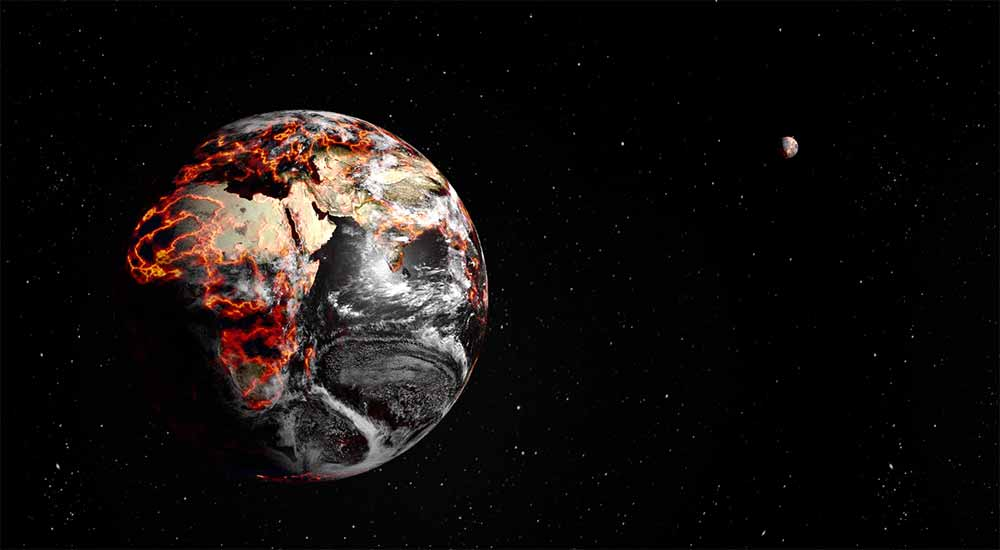 Earth with molten lava