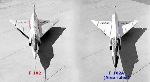 Comparison of the two F-102 variants where the right one is area ruled.
