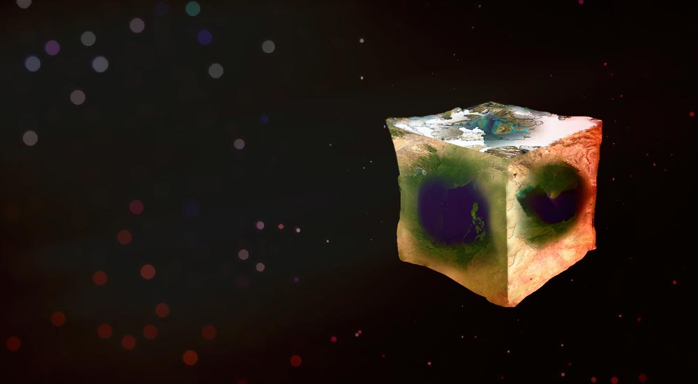 Rendered image of a cube shaped earth