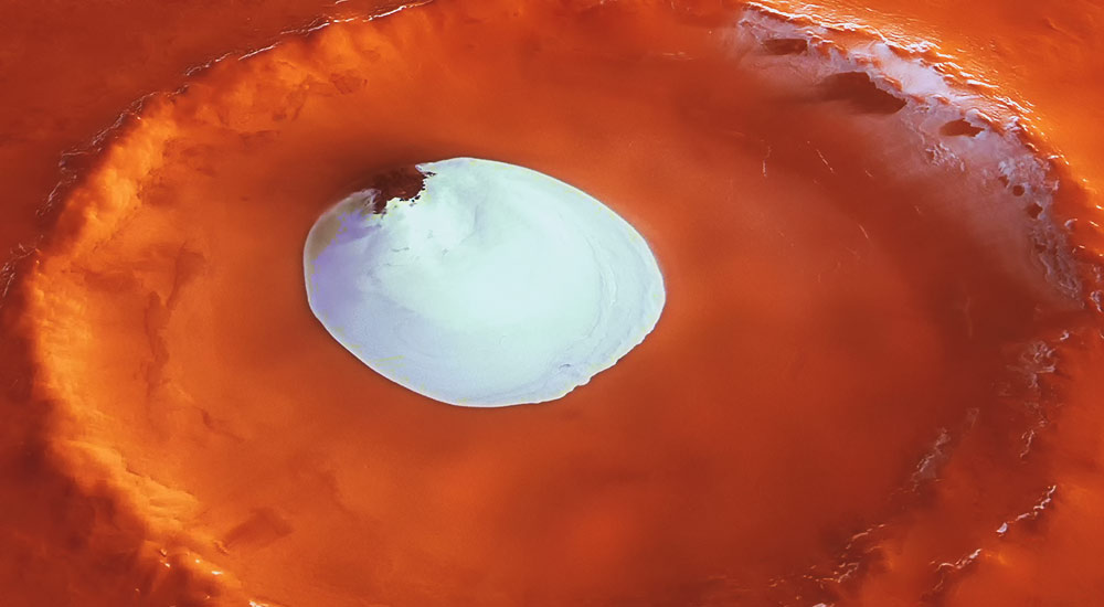 crater ice on mars