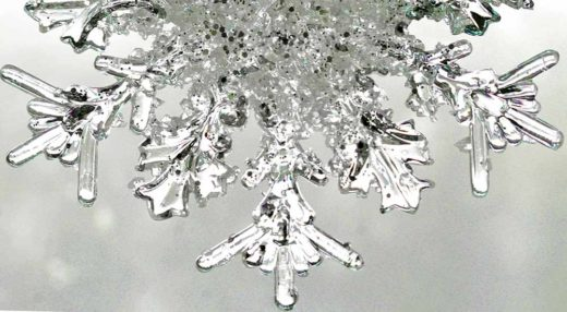 Close up photograph of a snowflake