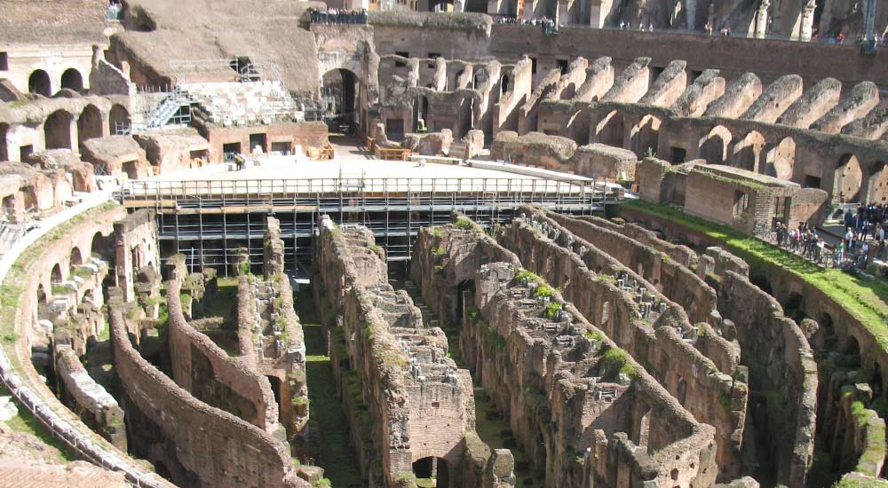 Colosseum's Arena remains and the Hypogeum