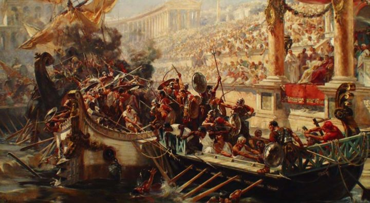 Artistic depiction of romans flooding the Colosseum for naval battles