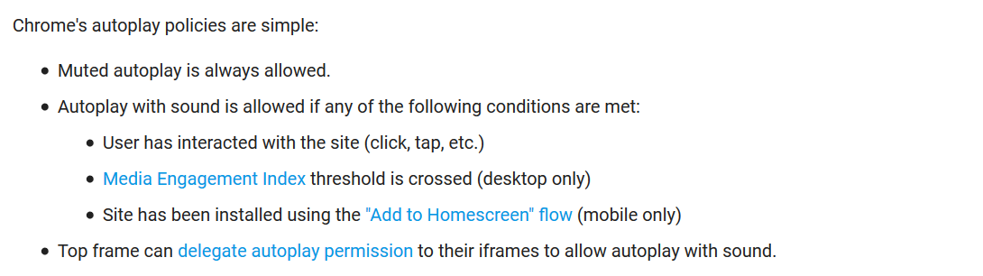 Chrome autoplay policies