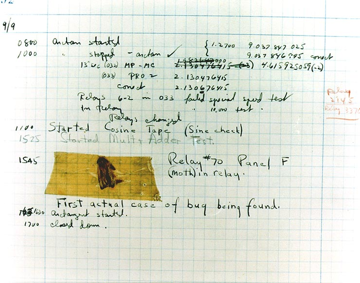Photo of the first computer bug