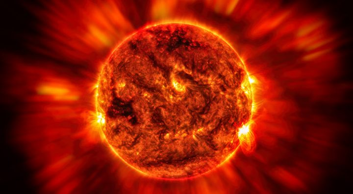 Hypothetical rendition of intense solar flare activity