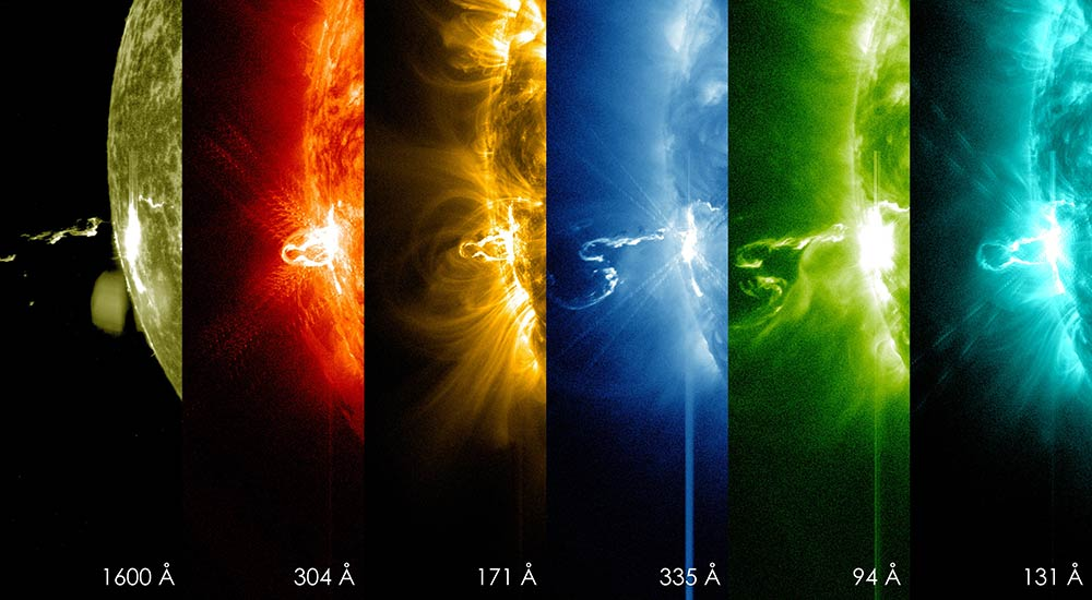 X-class solar flare recorded in different wavelengths of light