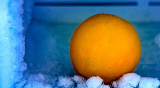 Photograph of an orange inside a freezer.