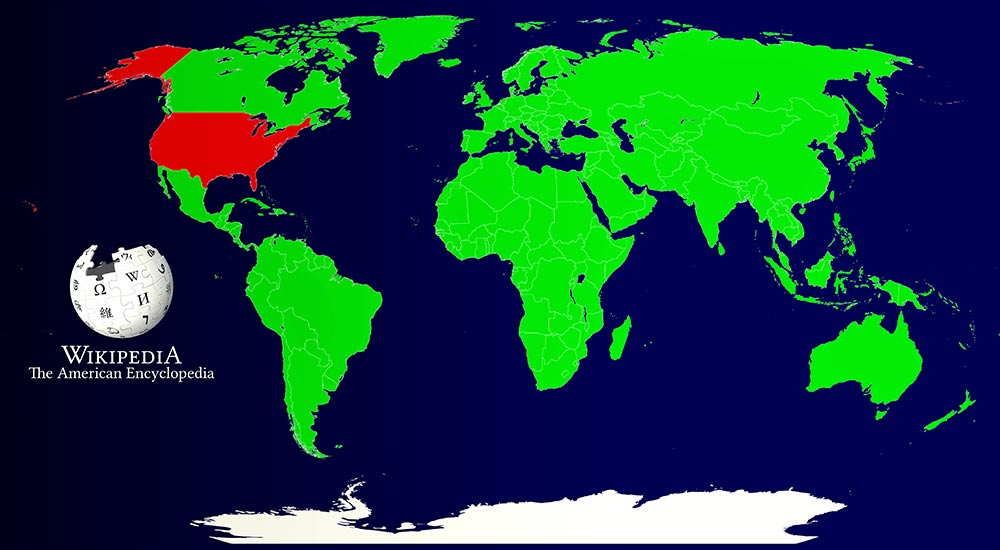 Illustrative map of the systemic bias in Wikipedia.
