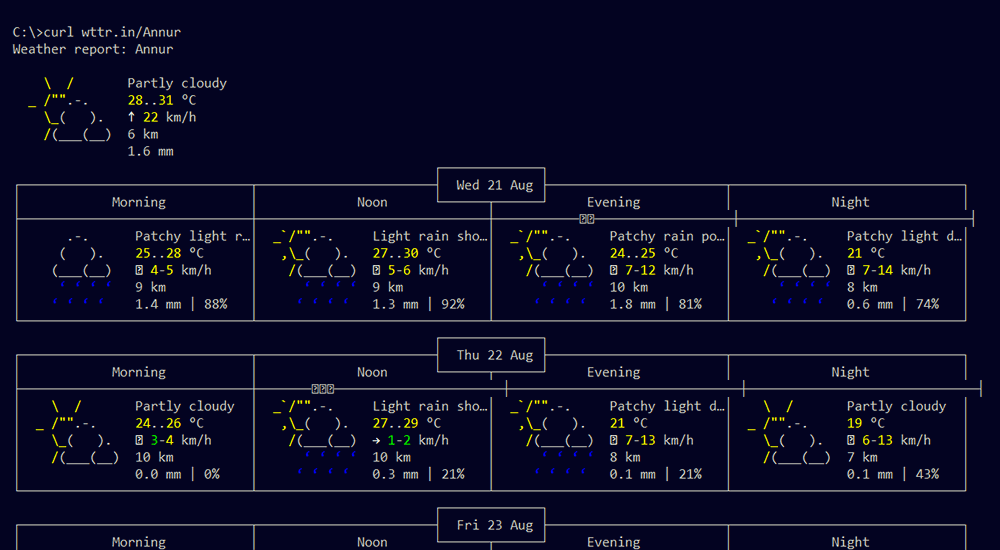 Screenshot of the weather update in command prompt.