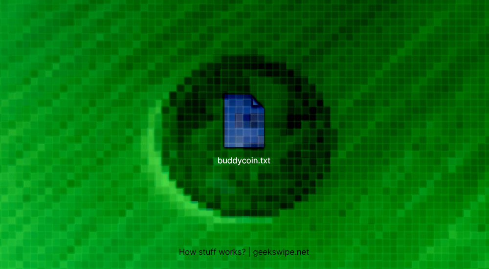 Artwork of a text file named buddycoin.txt by Geekswipe.